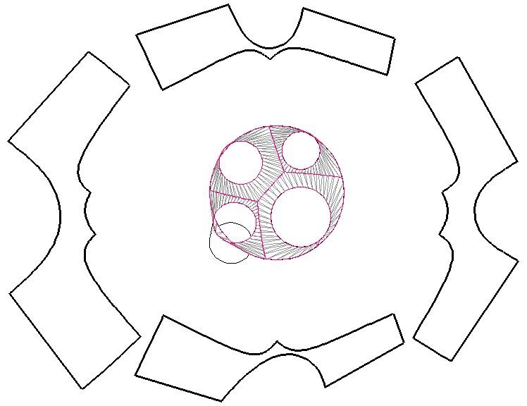 Rozwinięcie poszczególnych części bryły przejściowej